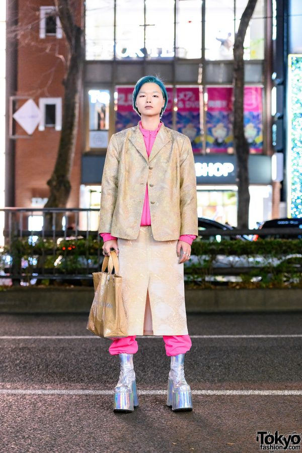 Tokyo Street Style w/ Aqua Hair, Aqua Brows, Resale Fashion, Gosha Rubchinskiy x Adidas Sports Suit, Comme des Garcons Tote & Demonia Tall Boots