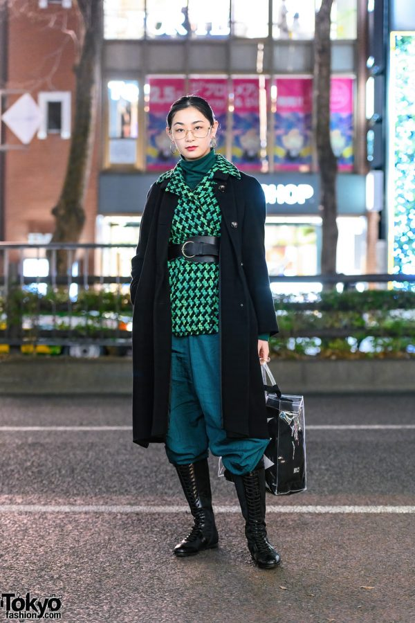 Two-Tone Street Style w/ Houndstooth Jacket, Turtleneck, Parachute Pants, Remake Bag & Prada Knee Boots