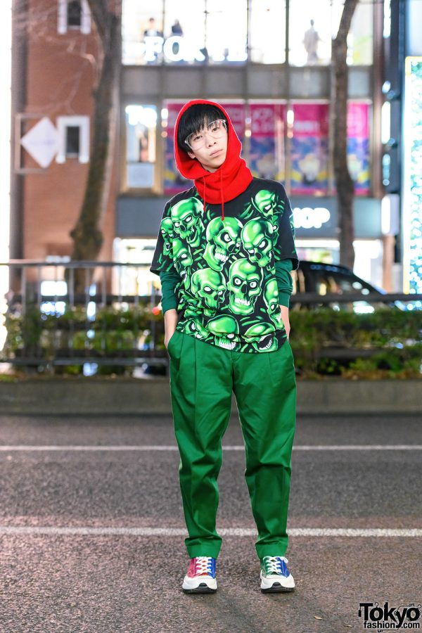 Japanese Photographer in Harajuku w/ Hood, Skull Print Shirt, Paul Smith Cuffed Pants & Converse Colorblock Sneakers