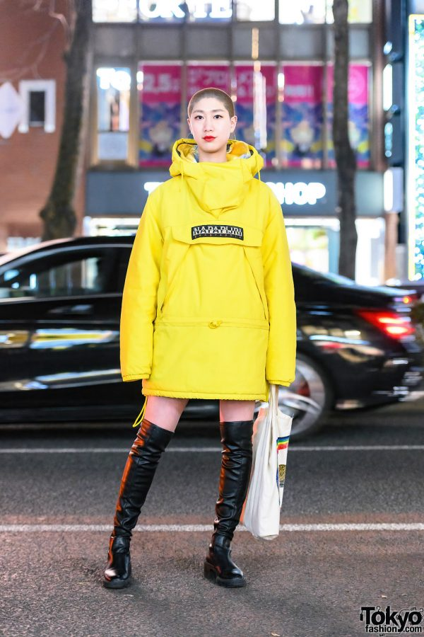 Chic Tokyo Girl Street Style w/ Shaved Head, Napapijri Skidoo Jacket, Justine Clenquet Hoops, Chloe & Zara Thigh-High Boots