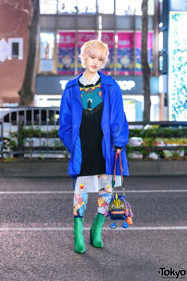 Harajuku Style w/ Messy Bob, Tender Flame Necklace, Vintage Fashion, Mikio Sakabe, Jeffrey Campbell Tights, Maison Promax Villain Squad Bag & Yello Pointy Crocodile Boots