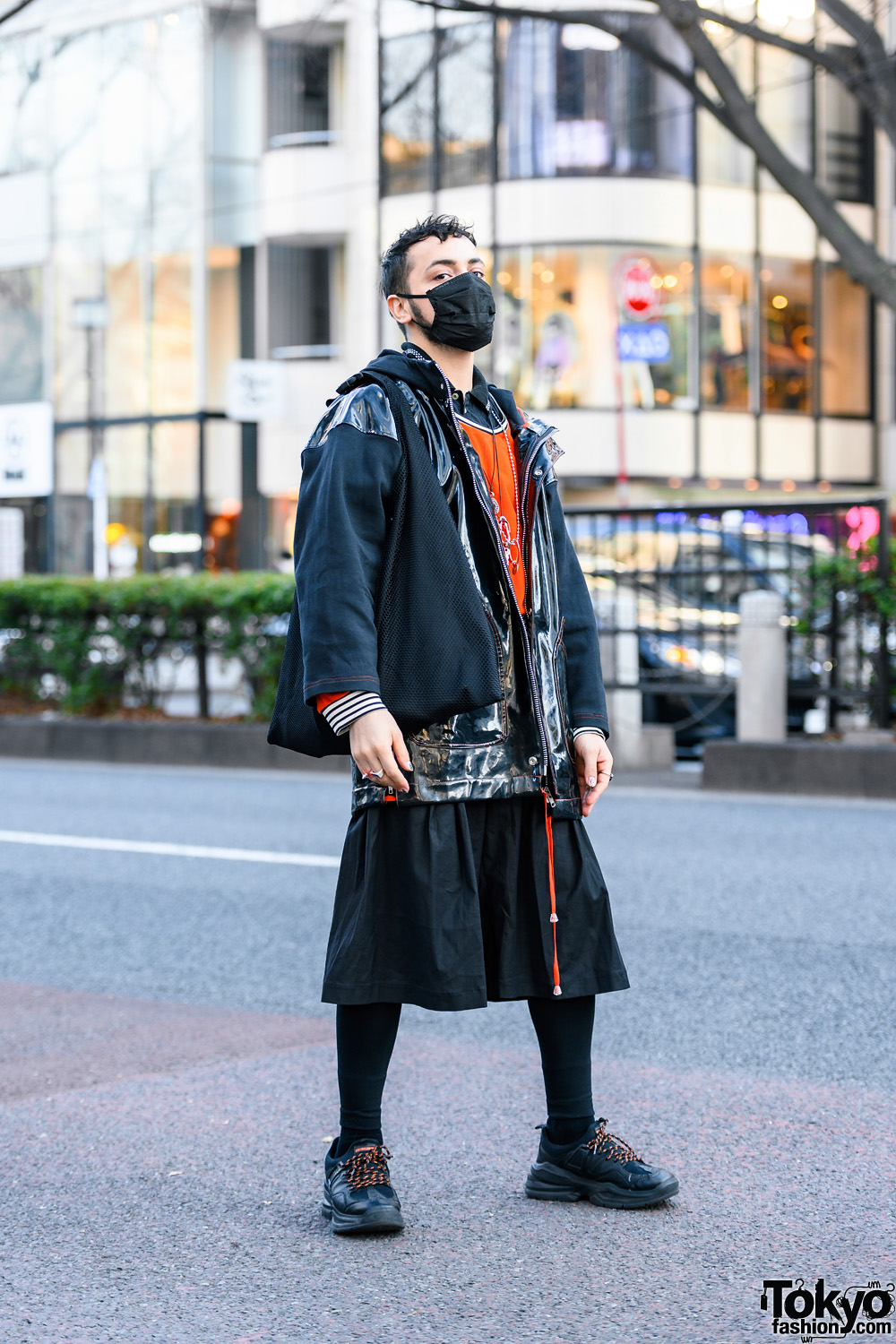 Accessory Designer in Tokyo w/ Face Mask, Patent Leather Jacket, Layered Tops, Wide Leg Culottes, Bento Bag & Chunky Sneakers