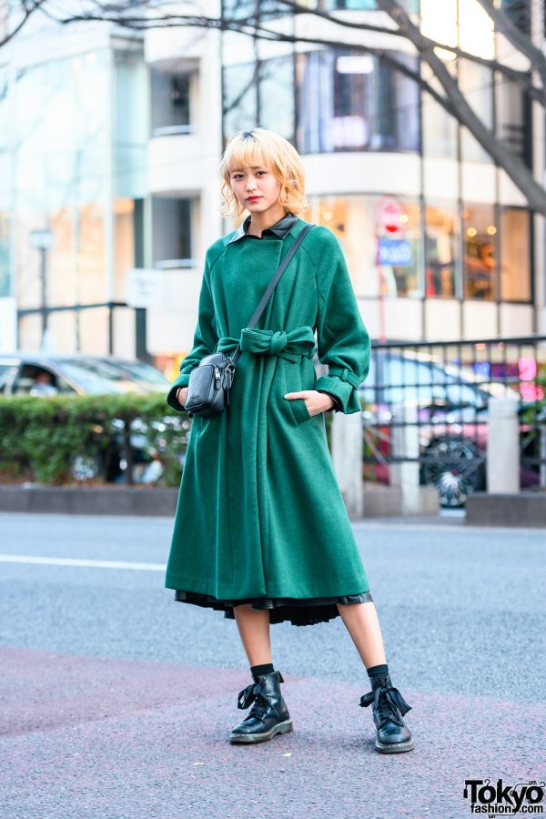 Japanese Model in Minimalist Street Style w/ Murua Belted Coat, Zara Faux Leather Dress, Coach Bag & Dr. Martens Boots