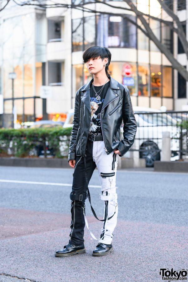 Tokyo Menswear Style w/ Shaggy Bob, Faith Tokyo Accessories, GU, Metallica Shirt, Tripp NYC Strap Pants & Dr. Martens