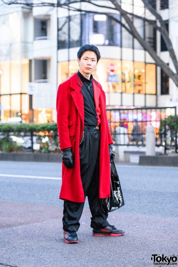 Black & Red Harajuku Style w/ Geometric Earrings, Gloves, Velvet Coat, Half-Color Blazer, Shiny Pants, Faux Leather Tote & Troops Sneakers