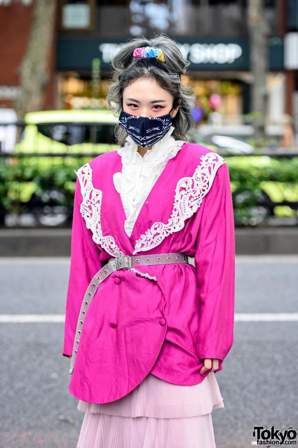 ACDC Face Mask & Belted Blazer in Harajuku