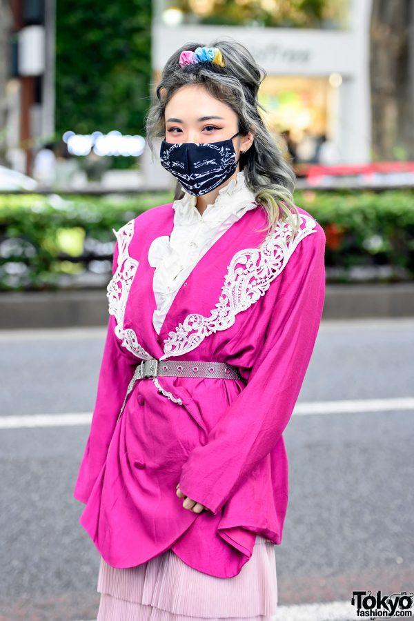 Face Mask & Pink Belted Blazer in Tokyo