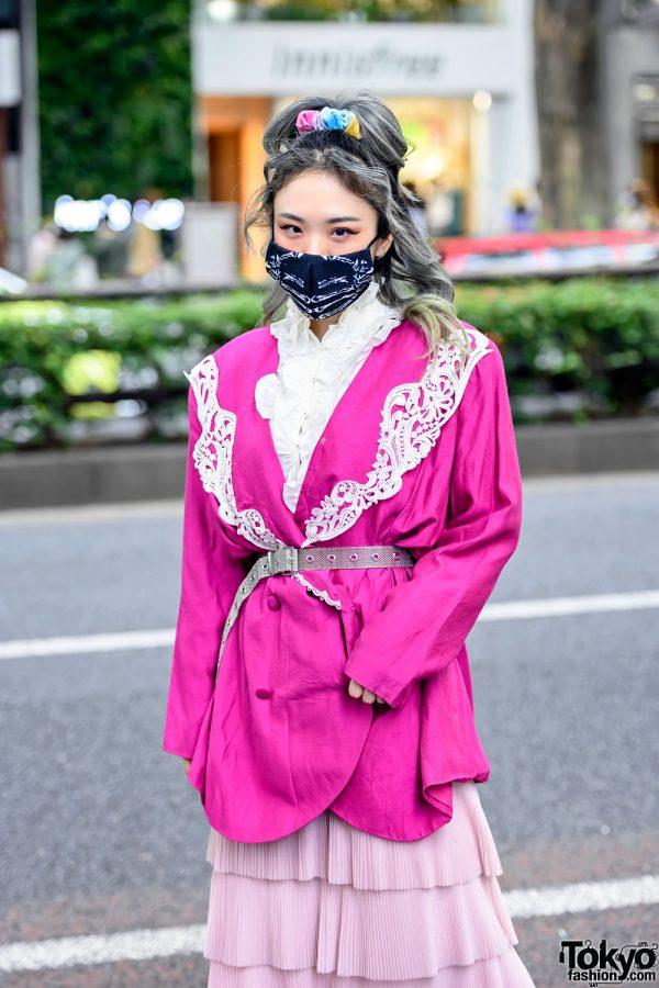 Harajuku Girl in Belted Blazer
