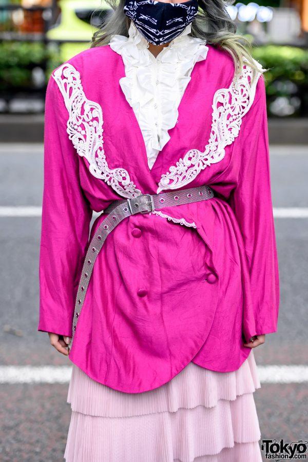 Belted Pink Blazer in Harajuku