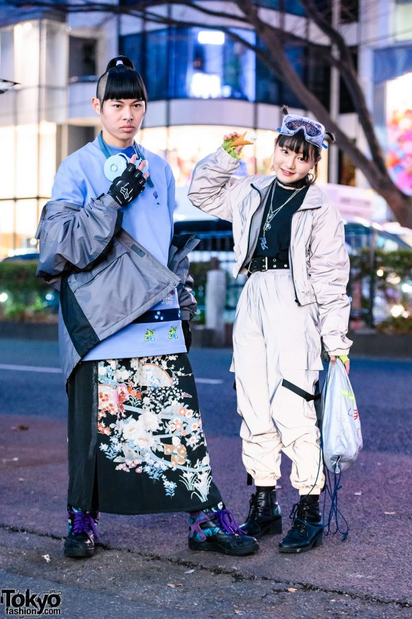 Tokyo Streetwear Styles w/ Partially-Shaved Hair, Gas Mask, Clear Goggles, Aoi Industry, Forever21 Metallic Suit, ME Harajuku & Reebok Insta Pump Fury Sneakers