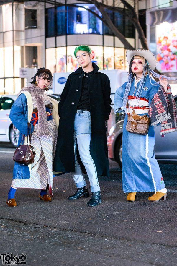 Japanese Trio's Styles w/ Cowboy Hat, Green Hair, Lee Denim Shearling Coat, Comme des Garcons, JieDa 2-Way Jeans, Remake Kimono & Maison Margiela Tabi Boots