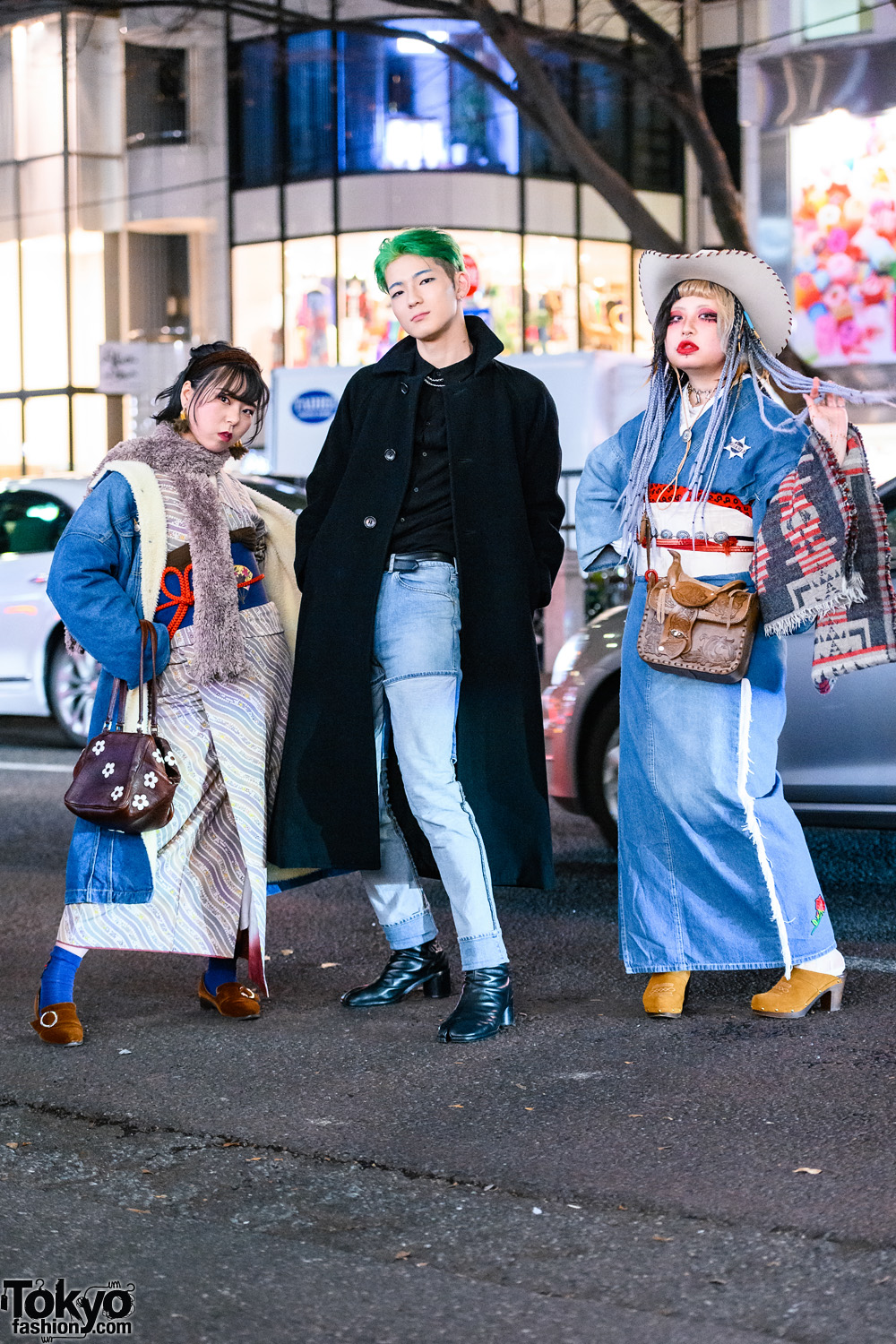 Japanese Trio's Styles w/ Cowboy Hat, Green Hair, Lee Denim Shearling Coat, Comme des Garcons, JieDa 2-Way Jeans, Remake Kimono & Maison Margiela Tabi Boots