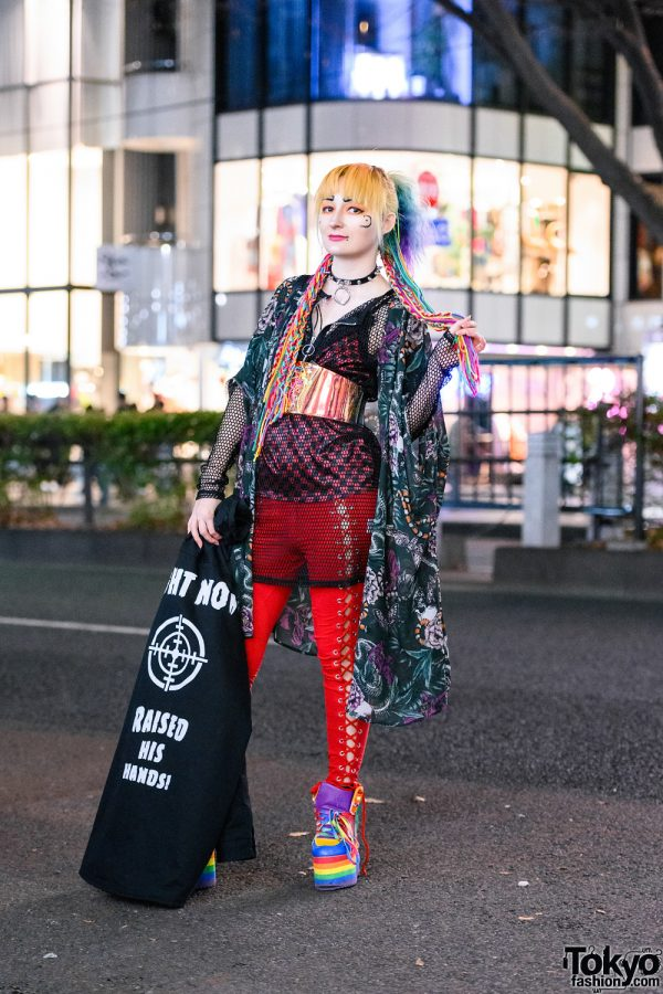Harajuku Style w/ Rainbow Hair Falls, Volcan & Aphrodite Kimono Jacket, Listen Flavor, Bones Lace-Up Pants, Psychedelic Corset, Dolls Kill & YRU Rainbow Platforms