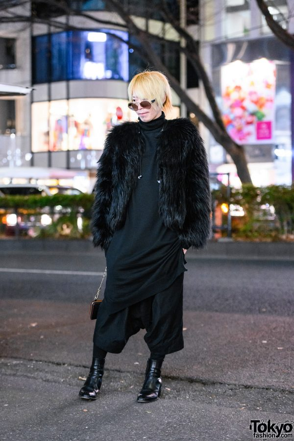 All Black Street Style in Tokyo w/ Blonde Hair, Sunglasses, H&M x Moschino Furry Jacket, Ground Y Turtleneck, Julius Cropped Pants & YSL Boots