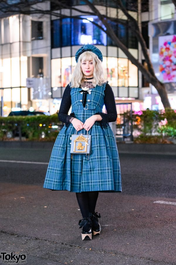 Harajuku Streetwear Style w/ Plaid Beret, Sheer Polka-Dot Top, Belted Plaid Dress, Anna Sui & Vivienne Westwood x Melissa Rocking Horse Shoes
