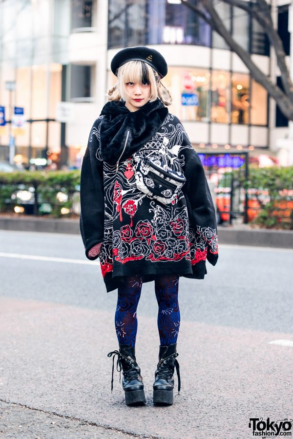 Japanese Pop Idol in Harajuku w/ Two-Tone Hair, Vampire Fangs, Mandaraningen Beret, Drug Honey Cowl Scarf, Vivienne Westwood, M:E, & Killstar