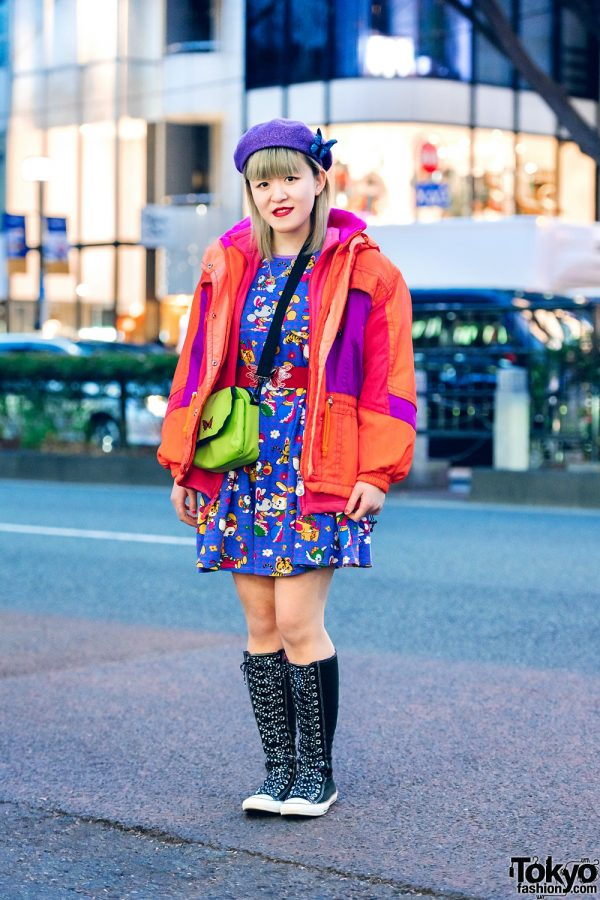 Harajuku Street Style w/ Nishikaigan Beret, Butterfly Pin, Chicago, Grand Ground Dress, WEGO & Converse Knee High Sneakers