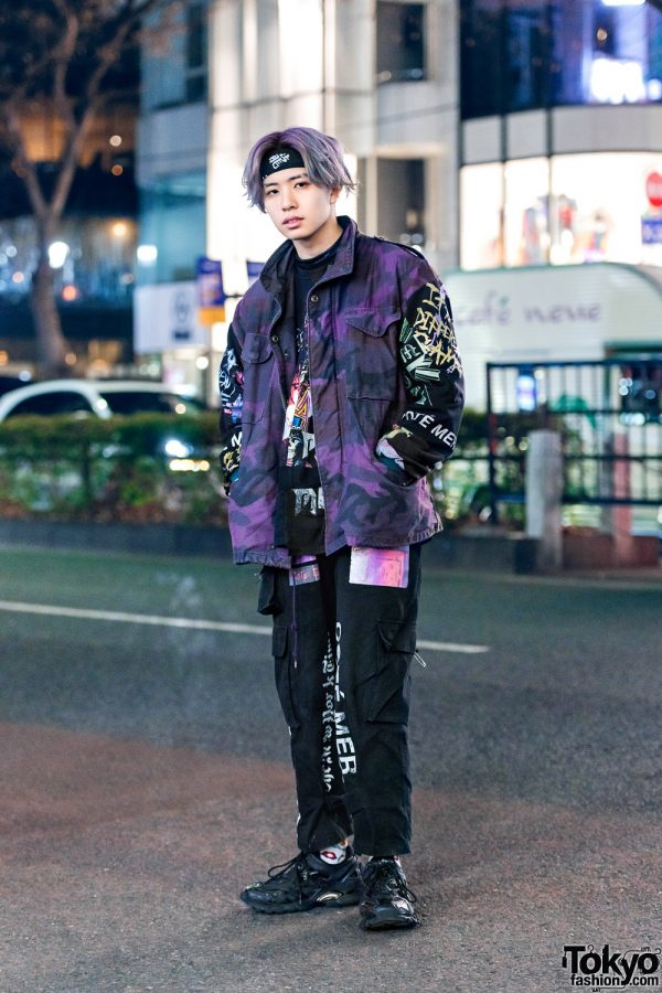 Cote Mer Graphic Print Streetwear Style w/ Purple Hair, Headband, Camouflage Jacket, Cargo Pants & Balenciaga Sneakers