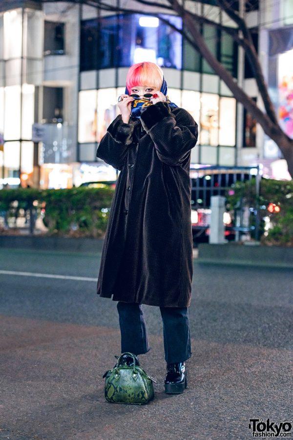 Tokyo Street Style w/ Two-Tone Hair, Headscarf, Fur-Trimmed Maxi Coat, GU, Faith Tokyo Snakeskin Bag & Platform Booties