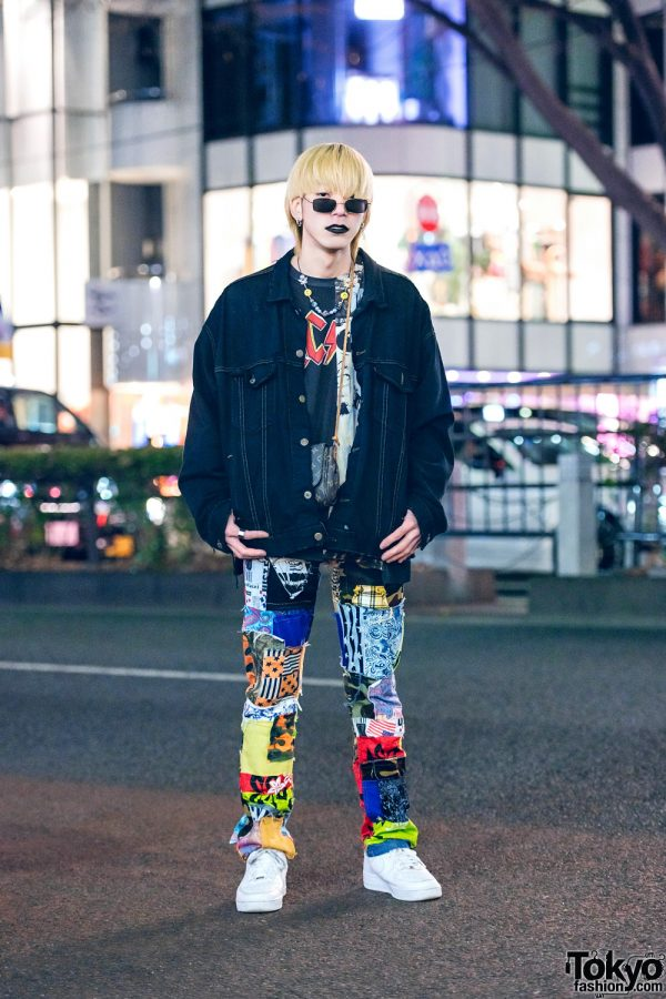 Harajuku Guy in Cote Mer Graphic Streetwear Style w/ Black Lipstick, Denim Jacket, Patchwork Pants, Louis Vuitton Sling & Nike Sneakers