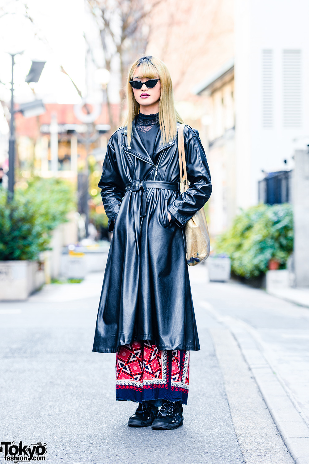 Gender Queer Japanese Fashion Designer Street Style w/ Belted Faux Leather Coat, Pameo Pose, Y's Pink Pants & 23.65 Sneakers