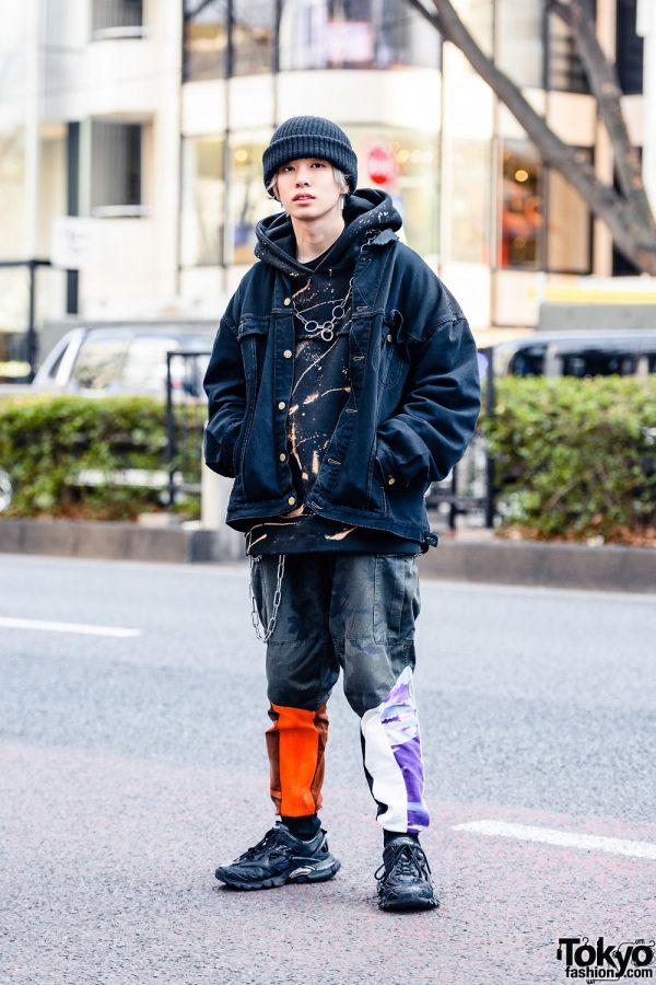 Tokyo Model in Cote Mer Streetwear Style w/ Knit Beanie, Denim Jacket, Hoodie Sweater, Camo Pants, (ME) Harajuku & Balenciaga Sneakers