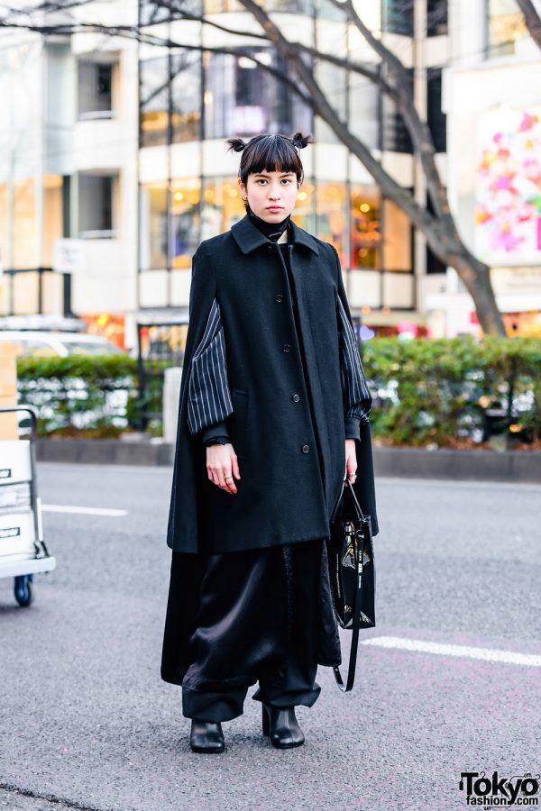 All Black Tokyo Street Style w/ Twin Buns, Prada Choker, Comme des Garcons Cape Coat, Akira Art of Wall x Nana-Nana Tote, Iosselliani, Tokyo Human Experiments & MM6 Maison Margiela Boots