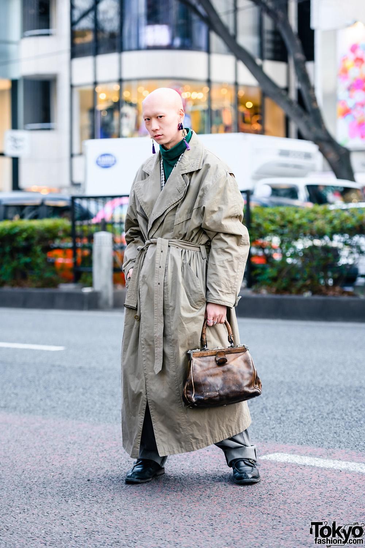 Tokyo Menswear Street Style w/ Tassel Earrings, Vintage Overcoat, Issey Miyake Pants, Goldpfeil Doctors Bag & YSL Oxfords