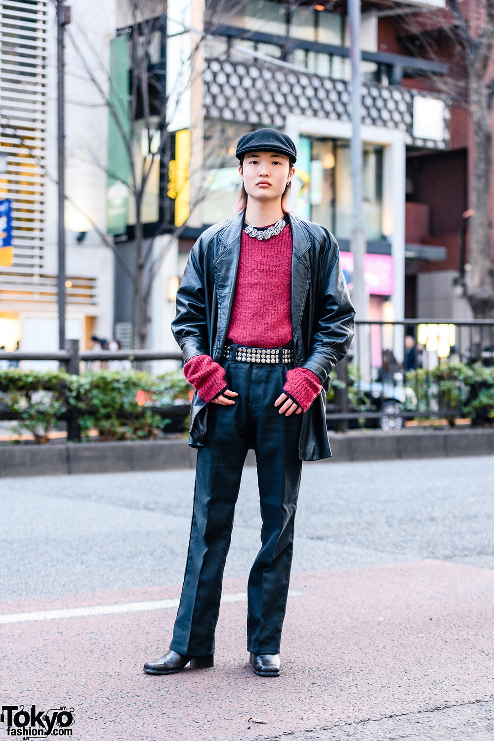 Black & Red Tokyo Street Style w/ Newsboy Cap, Christopher Nemeth Rope Print Necklace, Knit Sweater, Leather Jacket & John Lawrence Sullivan Leather Boots