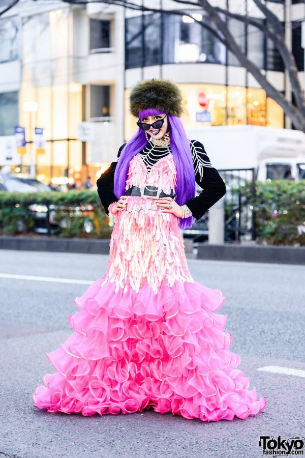 Extreme Harajuku Street Style w/ Takenoko Dress, Purple Hair, Pillbox Hat, Zebra Jacket, Tanpopo House & Office Kiko