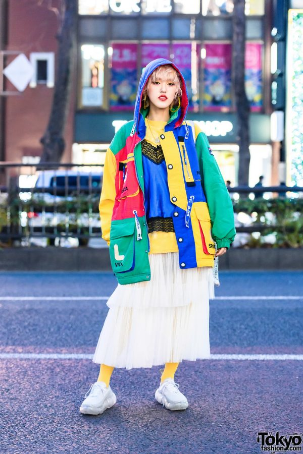 Colorblock Harajuku Street Style w/ Vintage Fila, Tender Person, UN3D. & Mikio Sakabe Grounds Sneakers