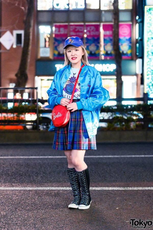 Harajuku Girl Street Style w/ Shiny Cap, Chicago Bomber Jacket, Labrat Shirt, Plaid Skirt, Romantic Standard, Dream Date Barbie Bag & Converse Knee-High Sneakers
