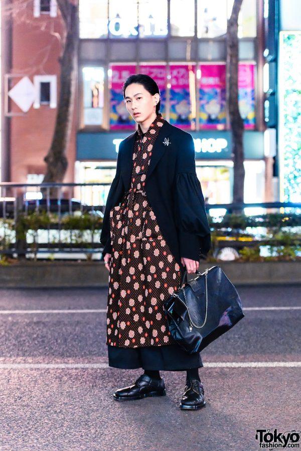 Harajuku Menswear Style w/ Comme des Garcons Jacket, Kami House Print Dress, Wide Leg Pants, Jean Paul Gaultier Satchel Bag & Leather Shoes