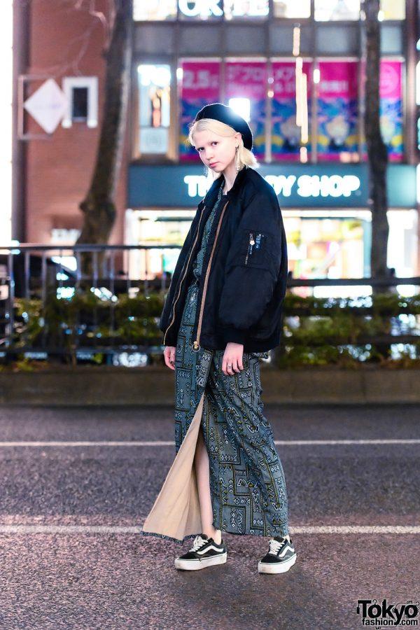 Harajuku Model's Streetwear Style w/ Single Chain Earring, Black Beret, Bomber Jacket, Wraparound Dress & Vans Sneakers