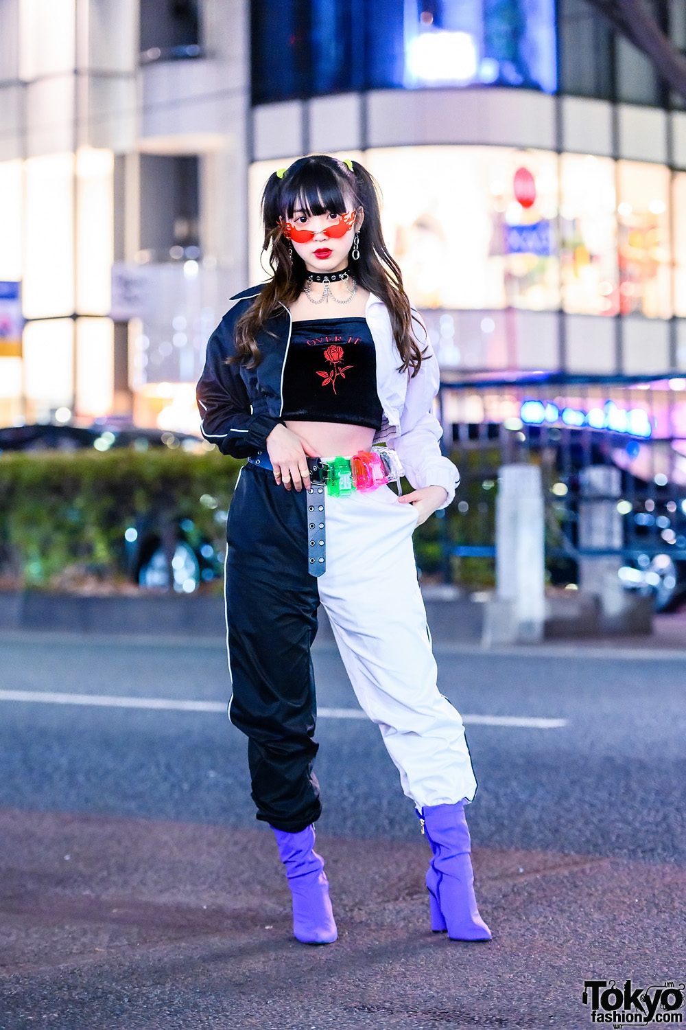 Japanese Idol in Two-Tone Fashion, Flames Sunglasses, Tube Top, WEGO, Spinns, Sevens, Belt Pouches & Yello Boots