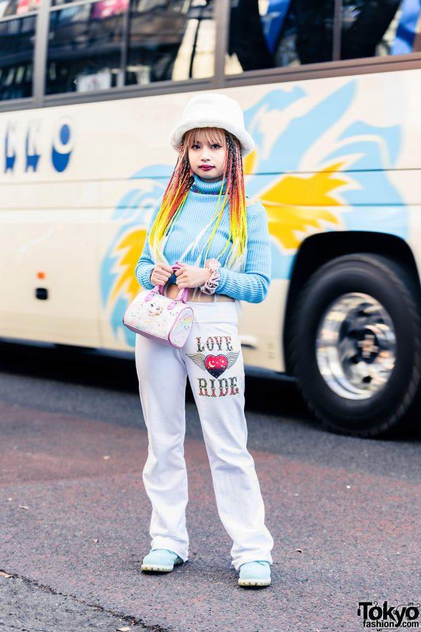 Pinnap Tokyo Streetwear Style w/ Fuzzy Hat, Colorful Braids, Cropped Turtleneck Sweater, Love Ride Sweatpants, H&M Princess Elsa Bag, VidaKush & Blue Boots