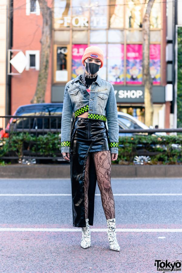 Harajuku Street Style w/ Black Mask, Silver Chains, Beanie, Man G Denim Jacket, Faux Leather Skirt, Pinnap, VidaKush & Dolls Kill Dollar Bill Boots