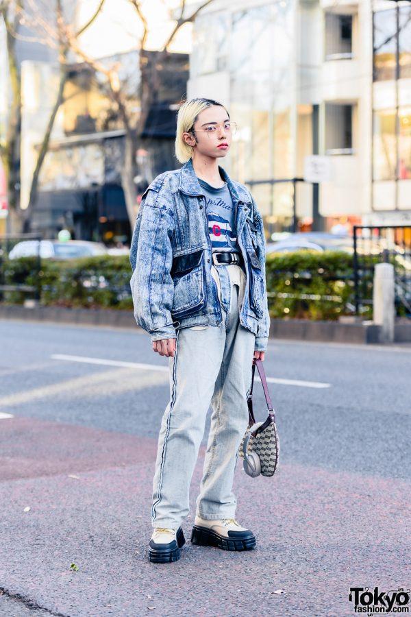 Japanese Rapper & Model in Denim Street Style w/ Sony Headphones, Resale Fashion, Rauco House Acid Wash Jeans, Balenciaga & Zara