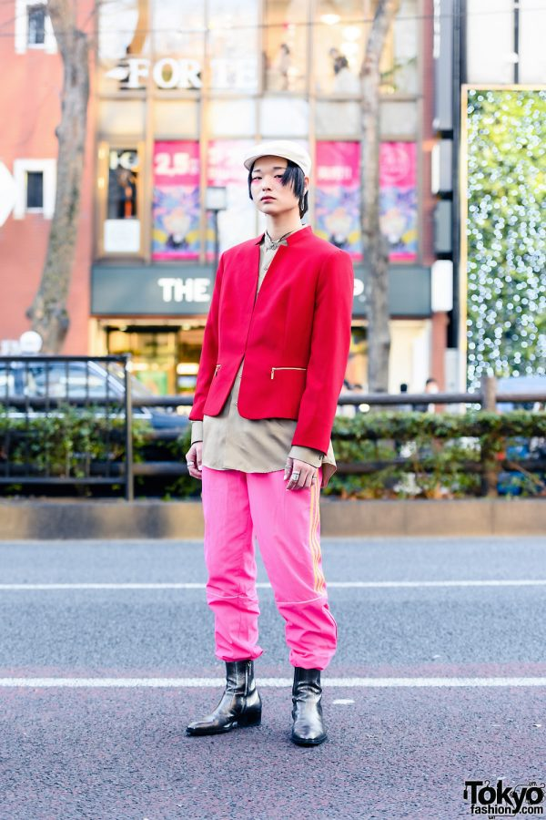 Colorful Tokyo Style w/ Pink Eye Makeup, Beret, Cropped Jacket, Gosha Rubchinskiy x Adidas Track Pants, Gucci, Hermes & Saint Laurent Boots