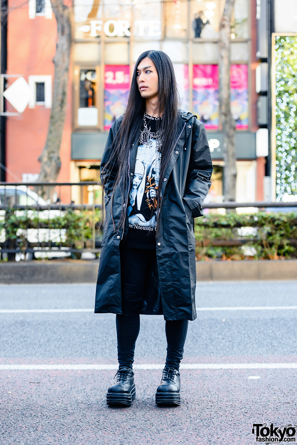 All Black Tokyo Streetwear Style w/ Long Hair, Purple Contacts, Hooded Coat, Cradle of Filth Band Tee, Tripp NYC Skinny Jeans, Nike & Demonia Platform Shoes