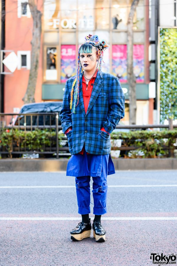 Harajuku Style w/ Multicolored Braided Buns, Spiked Hair Cuffs, Plaid Blazer, Strap Pants w/ Skirt Panel & Vivienne Westwood Rocking Horse Shoes