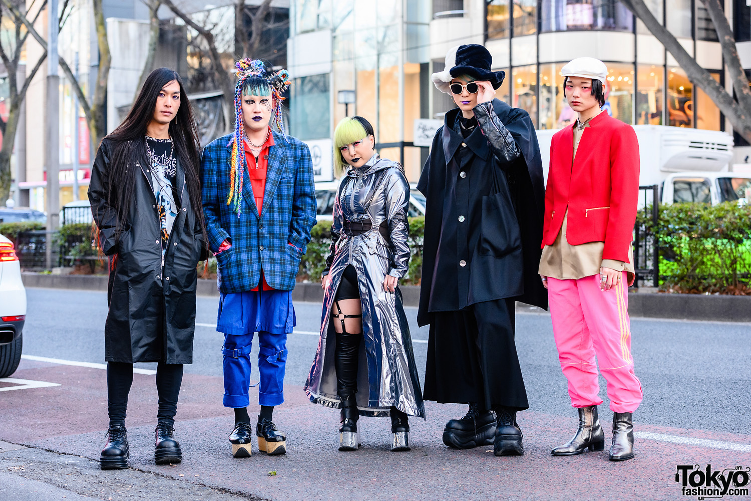 Harajuku Squad Styles w/ Cradle of Filth Tee, Multicolored Braided Buns, Vivienne Westwood, Dolls Kill Cyberpunk Fashion, Anrealage, LAD Musician, Demonia, Gosha Rubchinskiy x Adidas Pants & Saint Laurent Boots