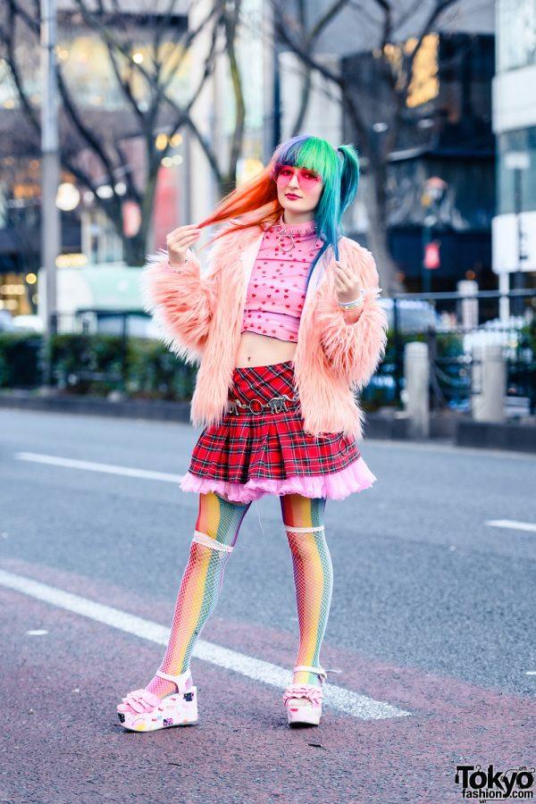 Colorful Harajuku Style w/ Rainbow Hair, Heart Glasses, Heart Print Top, WEGO Ruffle Skirt, Hot Topic Fishnets, Claire's Donut Print Backpack & CS T&P x Sanrio Wedge Sandals