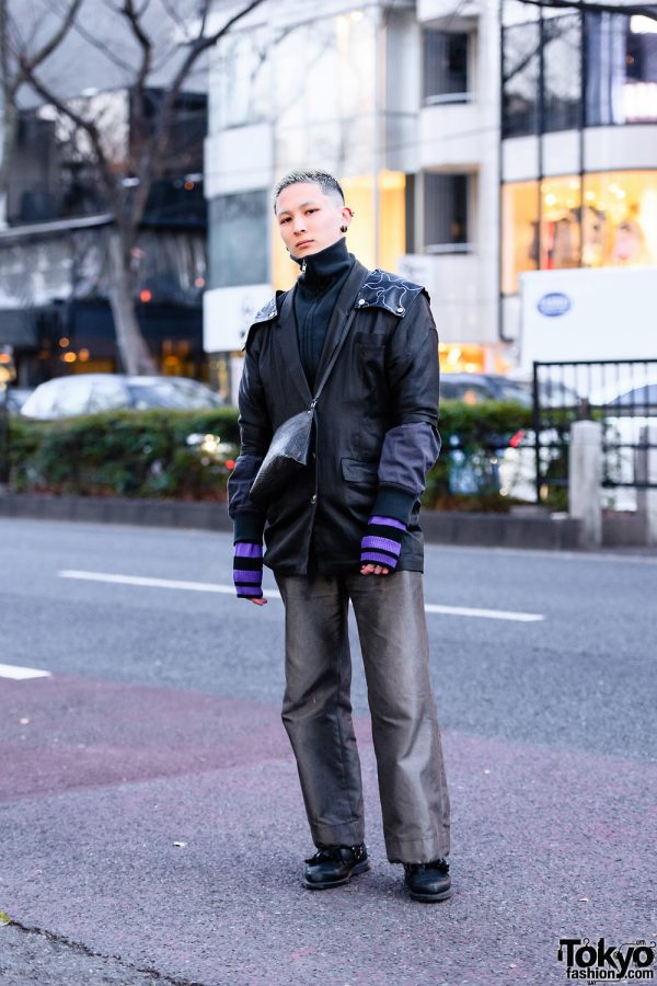 Harajuku Hair Stylist w/ Shoulder Shields, Pinstripe Pants, Maison Margiela, Vivienne Westwood Sling, Dr. Martens Loafers & Resale Fashion