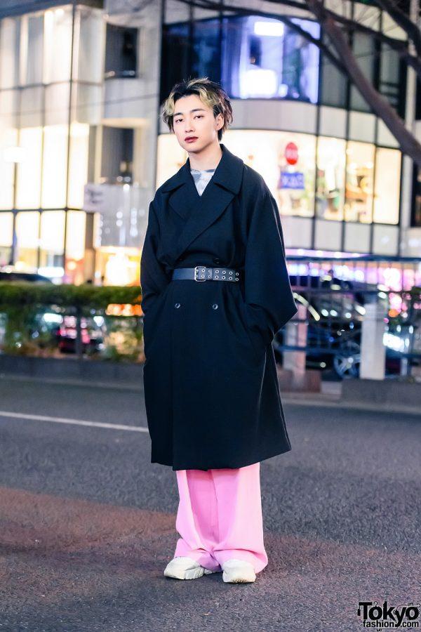 Tokyo Menswear Style w/ Blonde Highlights, Dark Red Lips, Belted Coat, WEGO Shirt, Zara Pants & Sneakers