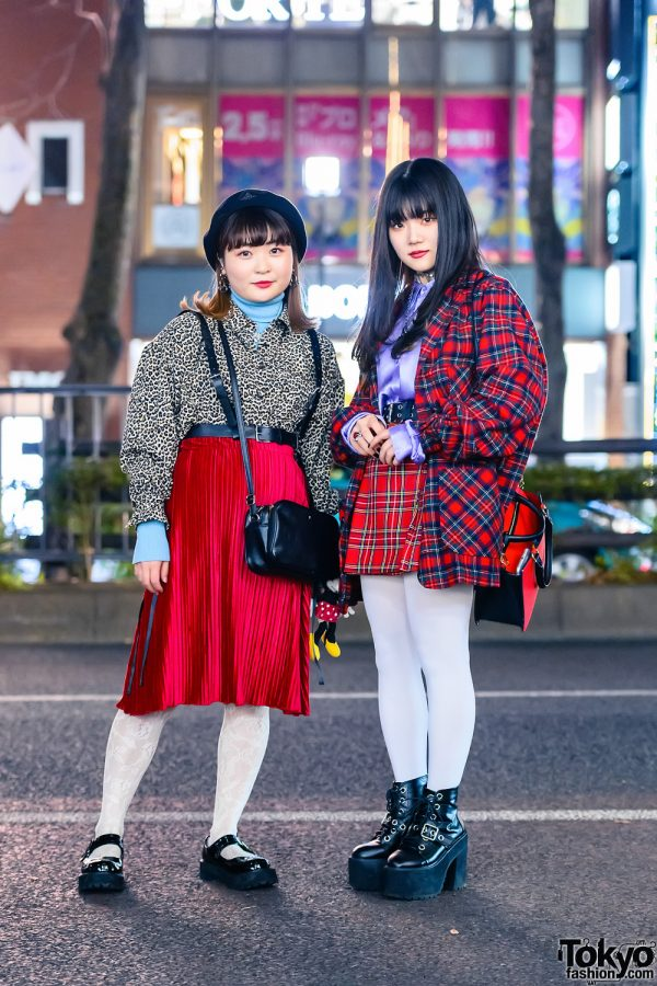 Harajuku Girls Styles w/ Beret, Heart Choker, Aymmy in the Batty Girls Accordion Pleat Skirt, Jouetie, Kinji, Koenji Plaid Blazer, Nice Claup Bag & Bubbles