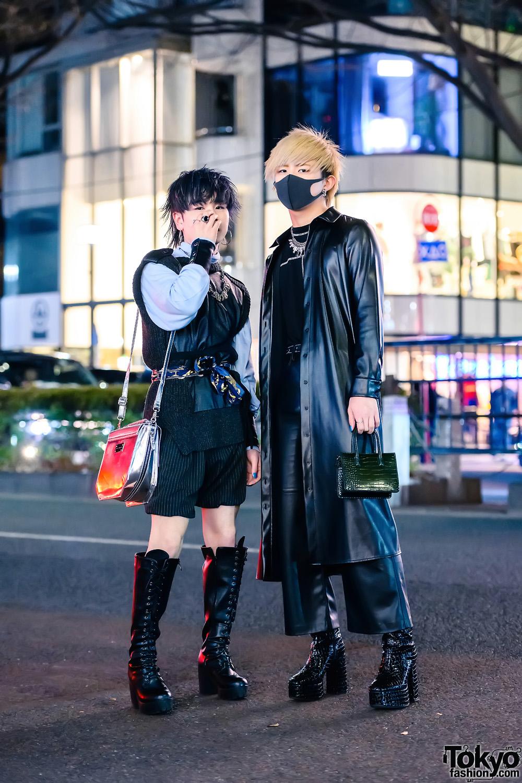 Monochrome Menswear Street Style w/ Face Mask, Yasuhiro Mihara, Zara Faux Leather Coat, Flared Pants, H&M, Kawi Jamele & G.V.G.V. Boots