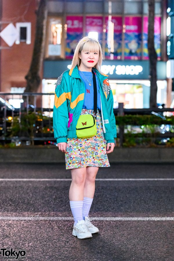 Kinji Shop Staff's Colorful Street Style w/ Angel Blue Charm Necklace, Chicago Jacket, UNIF, Printed Skirt, WEGO & Sketchers Chunky Sneakers