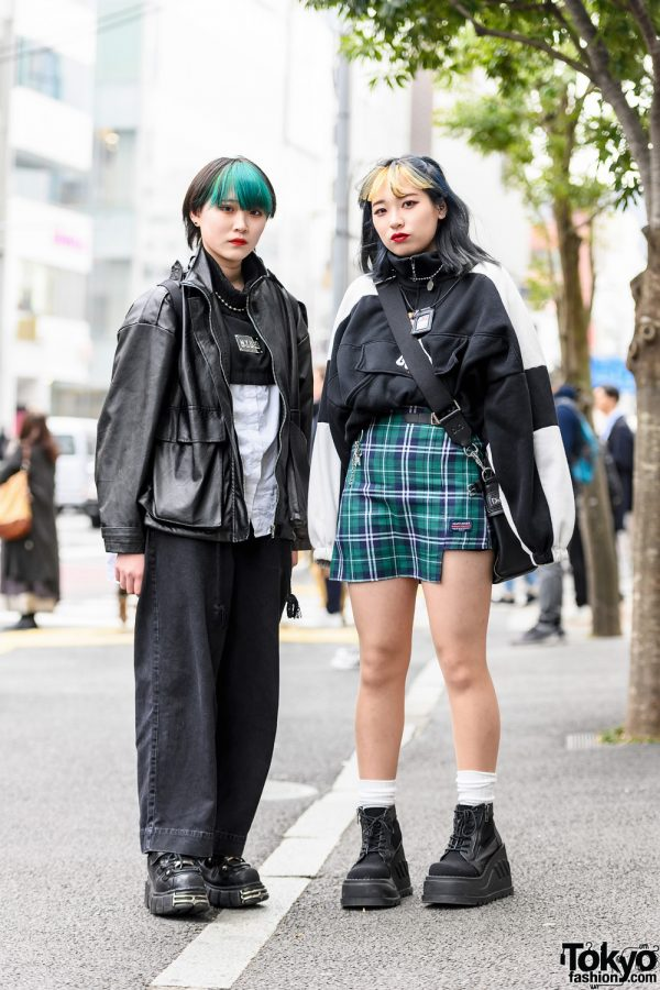 Harajuku Girls Streetwear Styles w/ Green Bangs, M.Y.O.B., Never Mind the XU, Mary James Plaid Skirt, Prada Backpack, Another Youth, D&G, New Rock & Demonia Boots