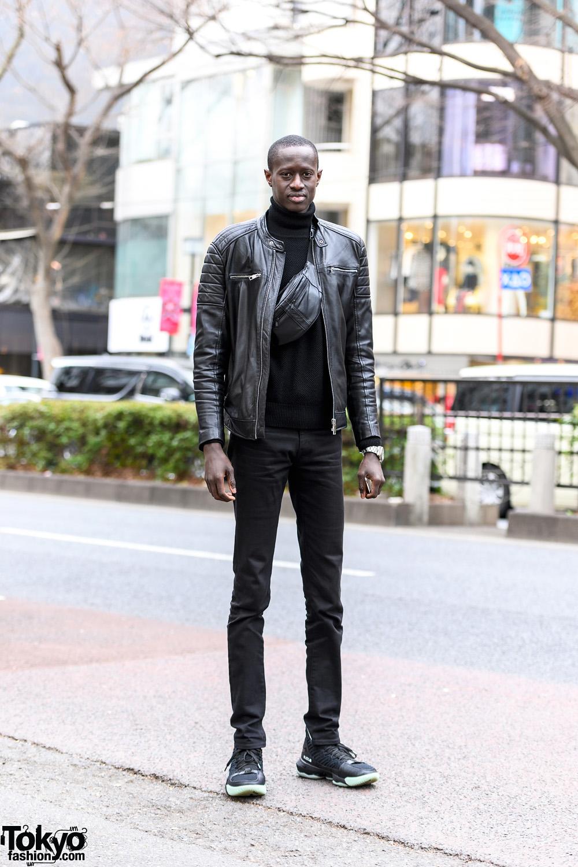 Monochrome Minimalist Tokyo Style w/ Silver Watch, Leather Jacket, Turtleneck Sweater, Skinny Jeans, Waist Bag & Nike Lebron Sneakers